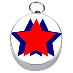 Stars Red Blue Silver Compasses by Mariart