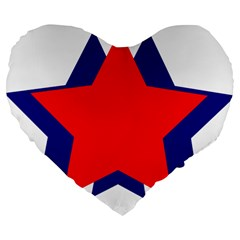 Stars Red Blue Large 19  Premium Flano Heart Shape Cushions by Mariart