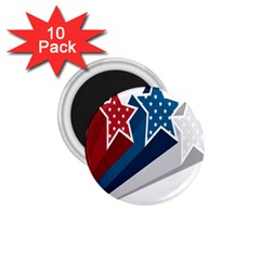 Star Red Blue White Line Space 1 75  Magnets (10 Pack)  by Mariart