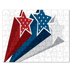 Star Red Blue White Line Space Rectangular Jigsaw Puzzl by Mariart