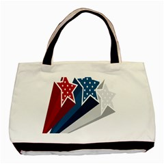 Star Red Blue White Line Space Basic Tote Bag by Mariart