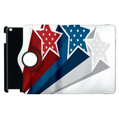 Star Red Blue White Line Space Apple Ipad 2 Flip 360 Case by Mariart