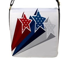 Star Red Blue White Line Space Flap Messenger Bag (l)  by Mariart