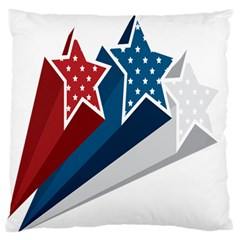 Star Red Blue White Line Space Large Flano Cushion Case (two Sides) by Mariart