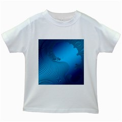 Fractals Lines Wave Pattern Kids White T Shirts