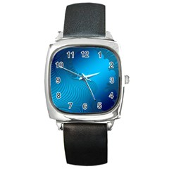 Fractals Lines Wave Pattern Square Metal Watch