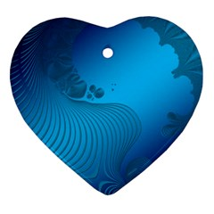 Fractals Lines Wave Pattern Heart Ornament (two Sides) by Nexatart