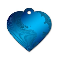 Fractals Lines Wave Pattern Dog Tag Heart (one Side) by Nexatart