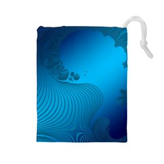 Fractals Lines Wave Pattern Drawstring Pouches (large)