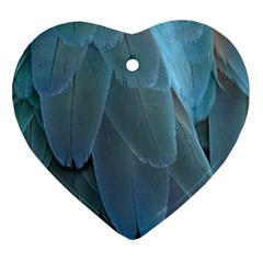 Feather Plumage Blue Parrot Ornament (heart) by Nexatart