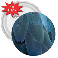 Feather Plumage Blue Parrot 3  Buttons (10 Pack)  by Nexatart