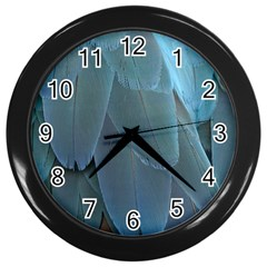 Feather Plumage Blue Parrot Wall Clocks (black) by Nexatart