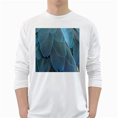 Feather Plumage Blue Parrot White Long Sleeve T Shirts