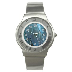 Feather Plumage Blue Parrot Stainless Steel Watch by Nexatart