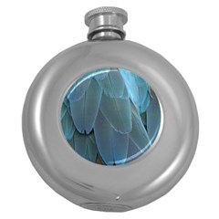 Feather Plumage Blue Parrot Round Hip Flask (5 Oz) by Nexatart