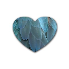 Feather Plumage Blue Parrot Rubber Coaster (heart)  by Nexatart