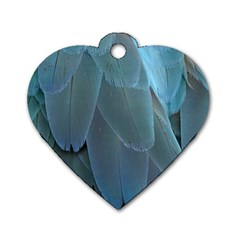Feather Plumage Blue Parrot Dog Tag Heart (two Sides)