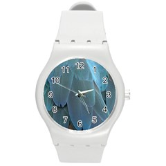 Feather Plumage Blue Parrot Round Plastic Sport Watch (m) by Nexatart