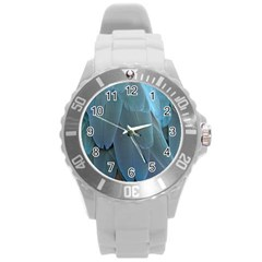 Feather Plumage Blue Parrot Round Plastic Sport Watch (l) by Nexatart