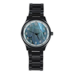Feather Plumage Blue Parrot Stainless Steel Round Watch by Nexatart