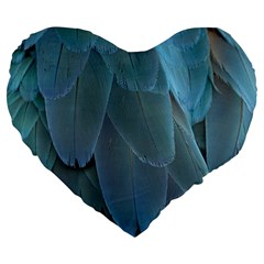 Feather Plumage Blue Parrot Large 19  Premium Flano Heart Shape Cushions by Nexatart