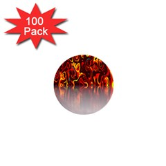 Effect Pattern Brush Red Orange 1  Mini Buttons (100 Pack)