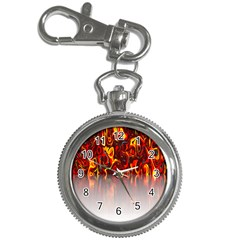 Effect Pattern Brush Red Orange Key Chain Watches