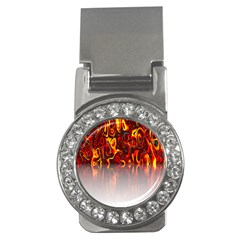 Effect Pattern Brush Red Orange Money Clips (cz)