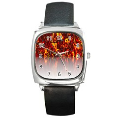 Effect Pattern Brush Red Orange Square Metal Watch by Nexatart