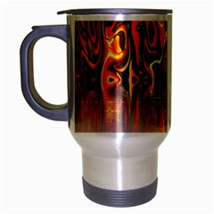 Effect Pattern Brush Red Orange Travel Mug (silver Gray) by Nexatart
