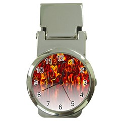 Effect Pattern Brush Red Orange Money Clip Watches by Nexatart