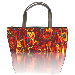 Effect Pattern Brush Red Orange Bucket Bags by Nexatart