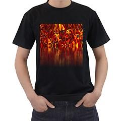 Effect Pattern Brush Red Orange Men s T Shirt (black)