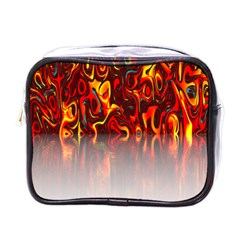 Effect Pattern Brush Red Orange Mini Toiletries Bags by Nexatart