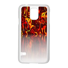 Effect Pattern Brush Red Orange Samsung Galaxy S5 Case (white) by Nexatart