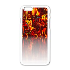 Effect Pattern Brush Red Orange Apple Iphone 6/6s White Enamel Case