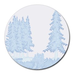 Winter Snow Trees Forest Round Mousepads by Nexatart