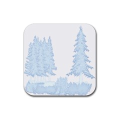 Winter Snow Trees Forest Rubber Square Coaster (4 Pack)  by Nexatart