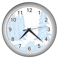 Winter Snow Trees Forest Wall Clocks (silver)  by Nexatart