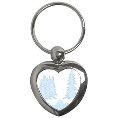 Winter Snow Trees Forest Key Chains (heart)  by Nexatart