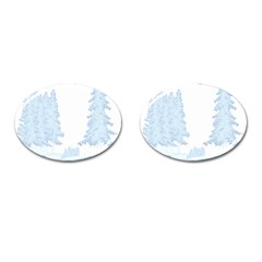 Winter Snow Trees Forest Cufflinks (oval) by Nexatart