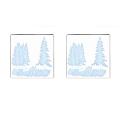 Winter Snow Trees Forest Cufflinks (square) by Nexatart