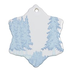 Winter Snow Trees Forest Snowflake Ornament (two Sides)