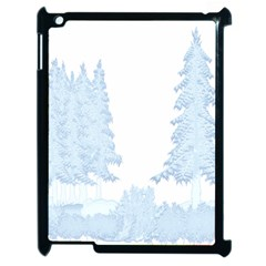 Winter Snow Trees Forest Apple Ipad 2 Case (black) by Nexatart