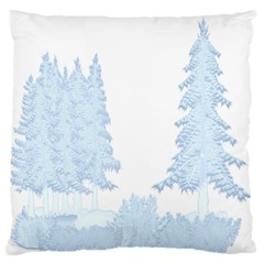 Winter Snow Trees Forest Large Flano Cushion Case (two Sides) by Nexatart