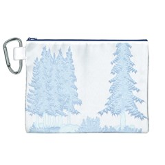 Winter Snow Trees Forest Canvas Cosmetic Bag (xl) by Nexatart