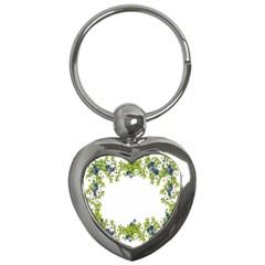 Birthday Card Flowers Daisies Ivy Key Chains (heart)  by Nexatart