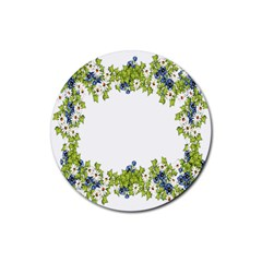 Birthday Card Flowers Daisies Ivy Rubber Round Coaster (4 Pack)  by Nexatart
