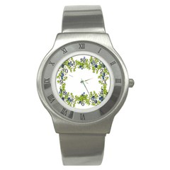 Birthday Card Flowers Daisies Ivy Stainless Steel Watch by Nexatart