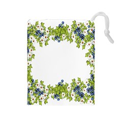 Birthday Card Flowers Daisies Ivy Drawstring Pouches (large)  by Nexatart